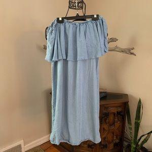Spense No Shoulder Flutter Denim Dress